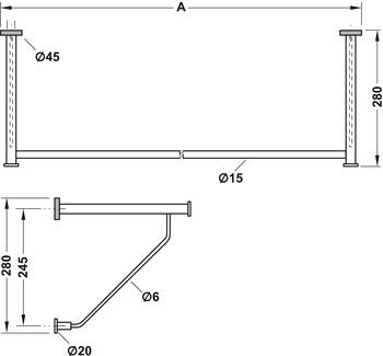 garderobe aus edelstahl wandmontage konfektioniert nach. Black Bedroom Furniture Sets. Home Design Ideas