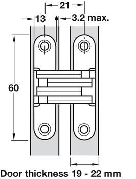 für ungefälzte Innentüren Holzdicke 19-25mm verdeckt liegend SOSS Scharnier