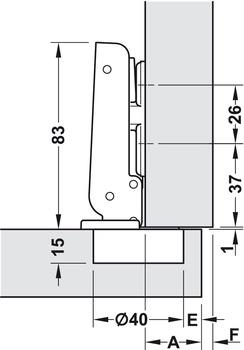 Extrem Spezialscharnier, für breite Holztüren bis 900 mm Türbreite - im PO36