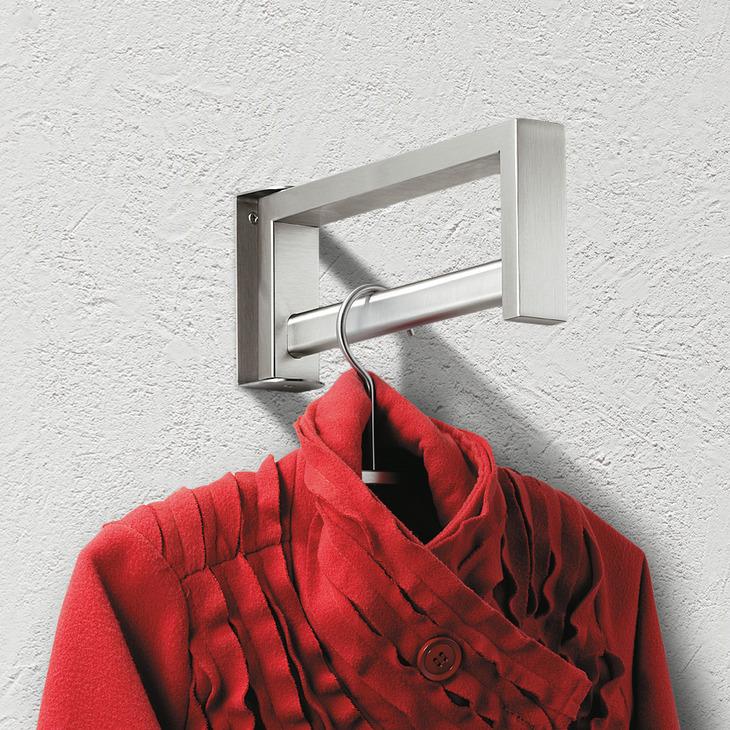 garderobe aus edelstahl schwenkbar wandmontage im h fele schweiz shop. Black Bedroom Furniture Sets. Home Design Ideas