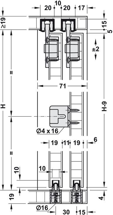 schiebet rbeschlag eku clipo 36 h if garnitur im h fele schweiz shop. Black Bedroom Furniture Sets. Home Design Ideas