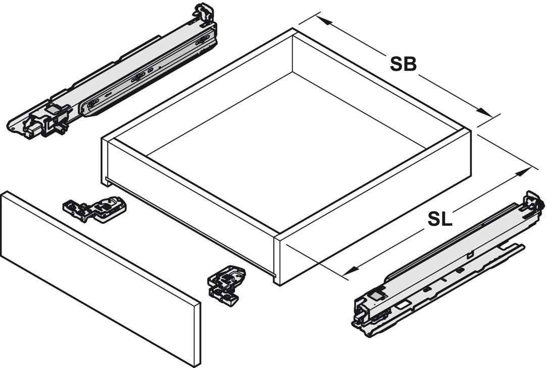 coulisse sous tiroir sortie totale blum movento 760 h. Black Bedroom Furniture Sets. Home Design Ideas