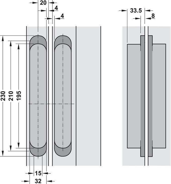 Paumelle de porte pose invisible pour portes for Porte 0 recouvrement