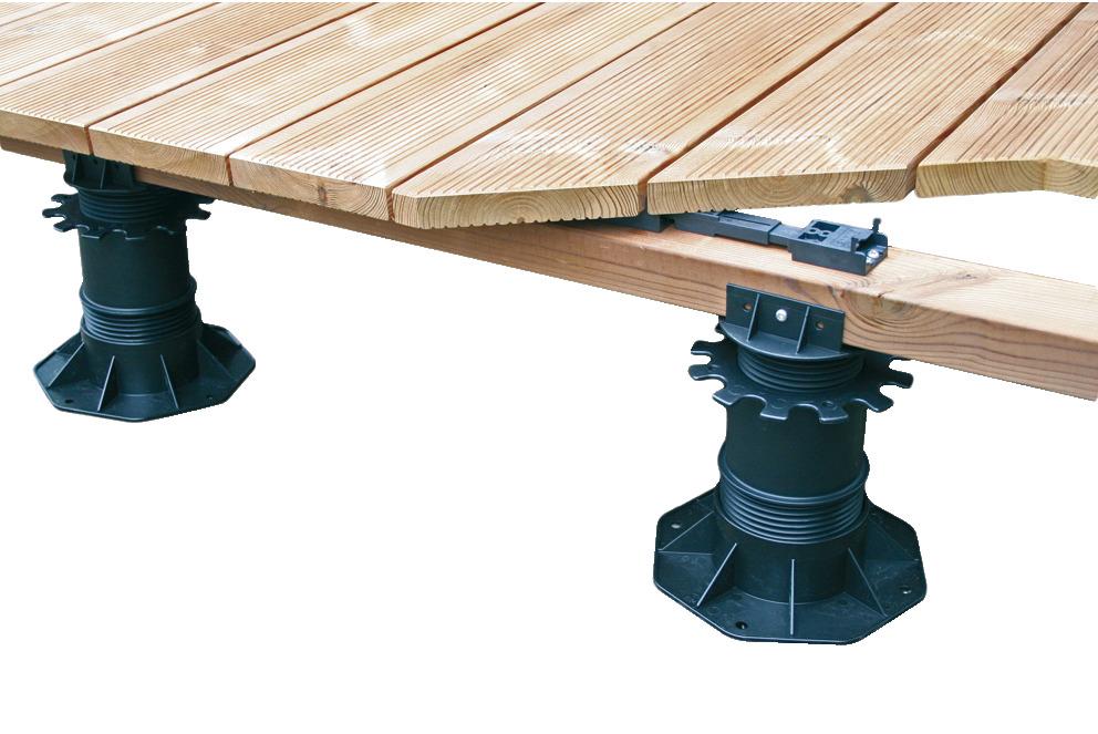 pieds de terrasse r glables pour pose sur construction en bois avec plots supports r glables. Black Bedroom Furniture Sets. Home Design Ideas