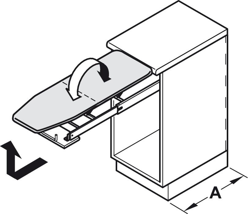 planche repasser ironfix montage derri re la fa ade de tiroir dans la boutique h fele suisse. Black Bedroom Furniture Sets. Home Design Ideas
