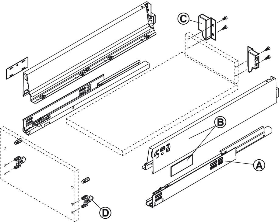 tiroir blum tandembox antaro avec rail de corps. Black Bedroom Furniture Sets. Home Design Ideas